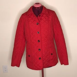 J. Jill Quilted Poly Coat Sz S Red